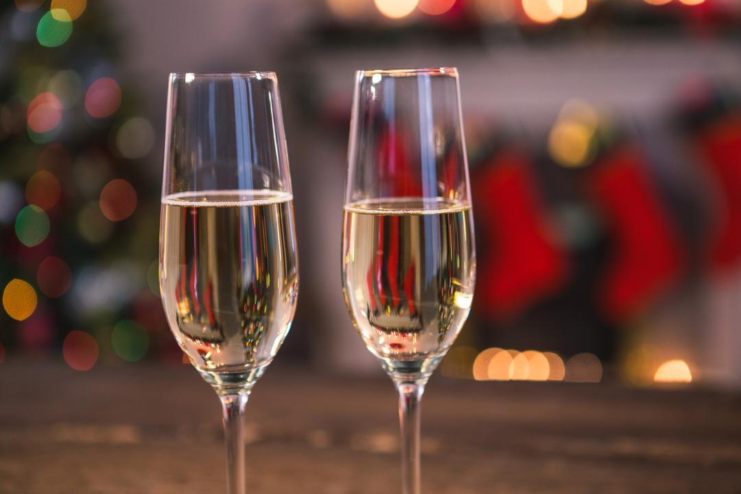 Two glasses of champagne during christmas time