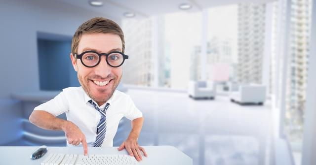 Nerd businessman using computer keyboard