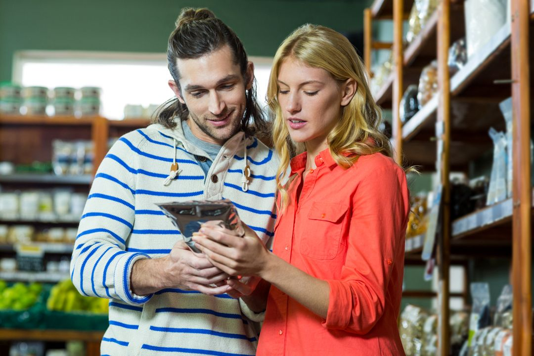 Couple looking at the decurion of a product in a store