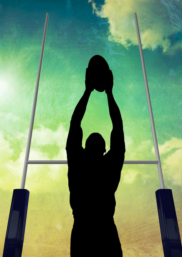 Digital composite image of silhouette athlete playing rugby