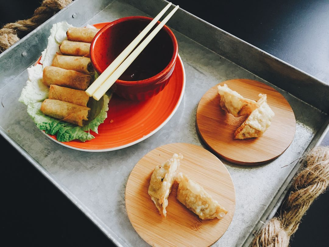 Image of Spring Rolls on a Plate