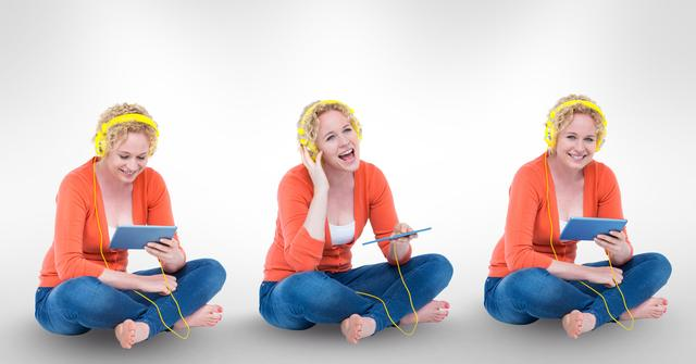 Digital composite of Multiple image of happy woman listening music through digital tablet