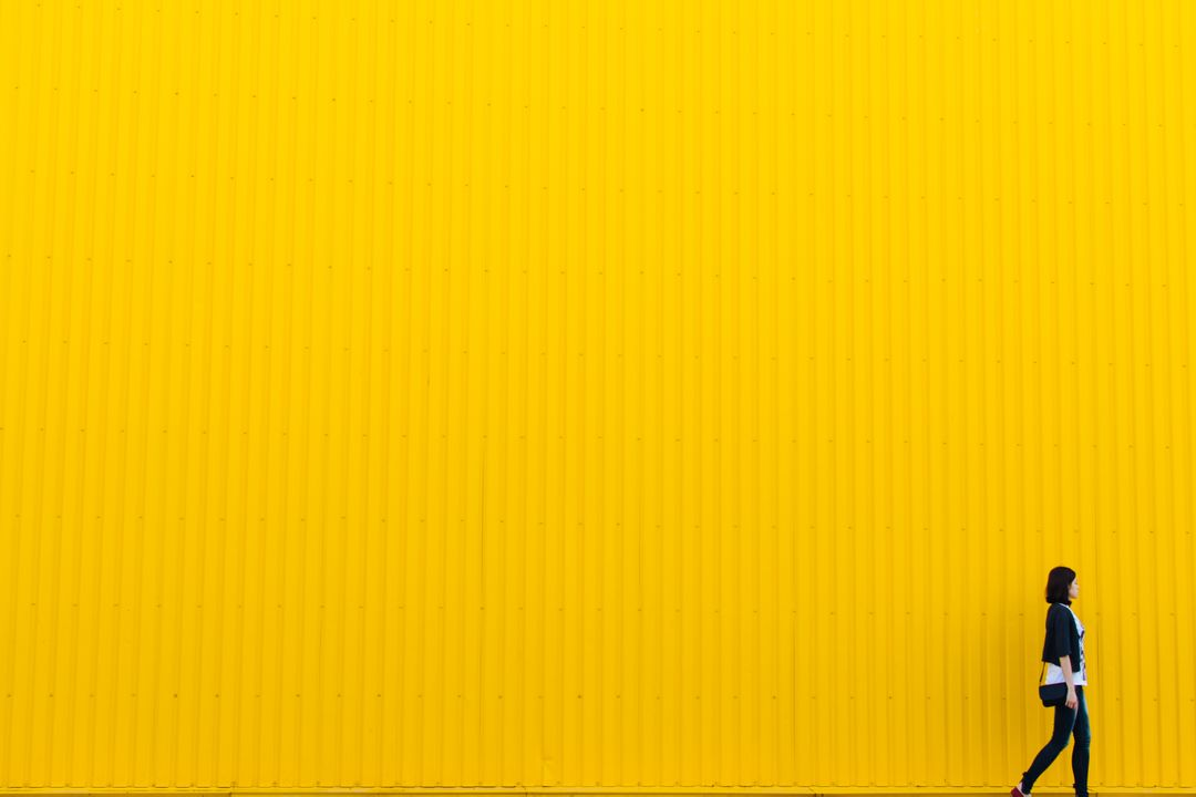 Wall yellow woman girl