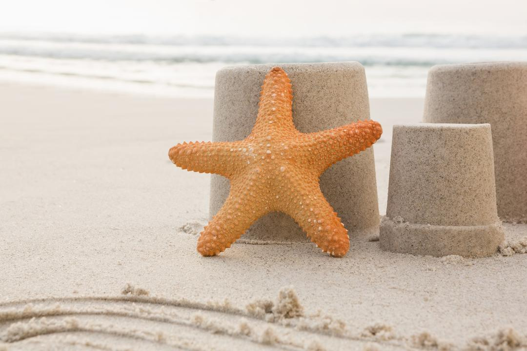 Three sand castles and starfish on tropical sand beach