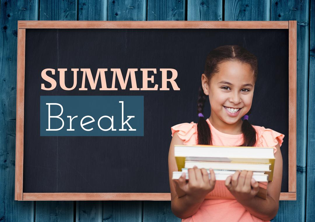 Digital composite image of happy schoolgirl holding books with summer break text on blackboard