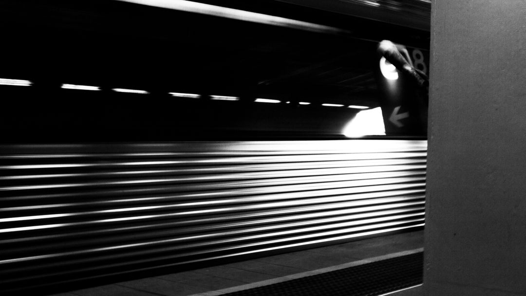 Black and white high speed train