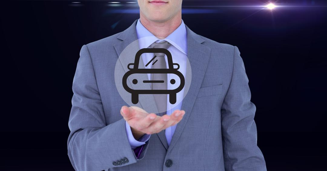 Digital composite image of businessman pretending to be holding vector car sign