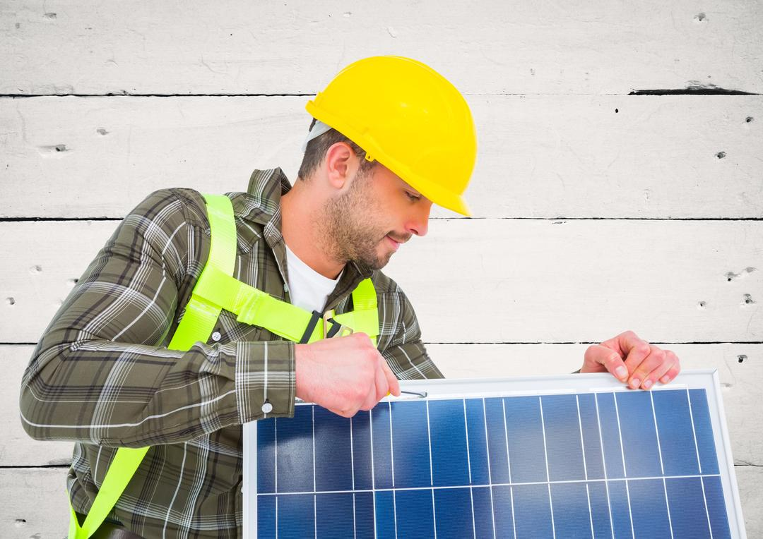 Digital composition of technician installing  solar panel against wooden plank background