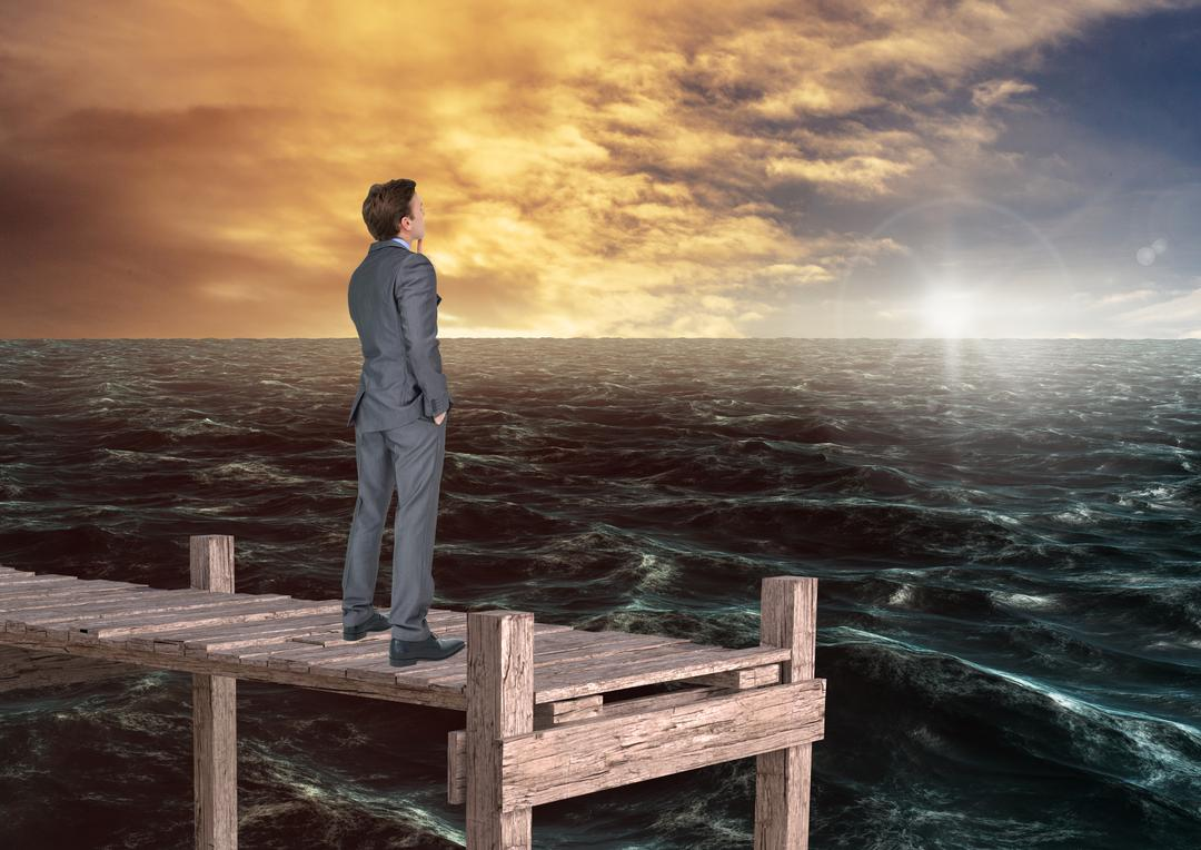 Digital composition of thoughtful businessman standing on wooden bridge in sea at sunrise