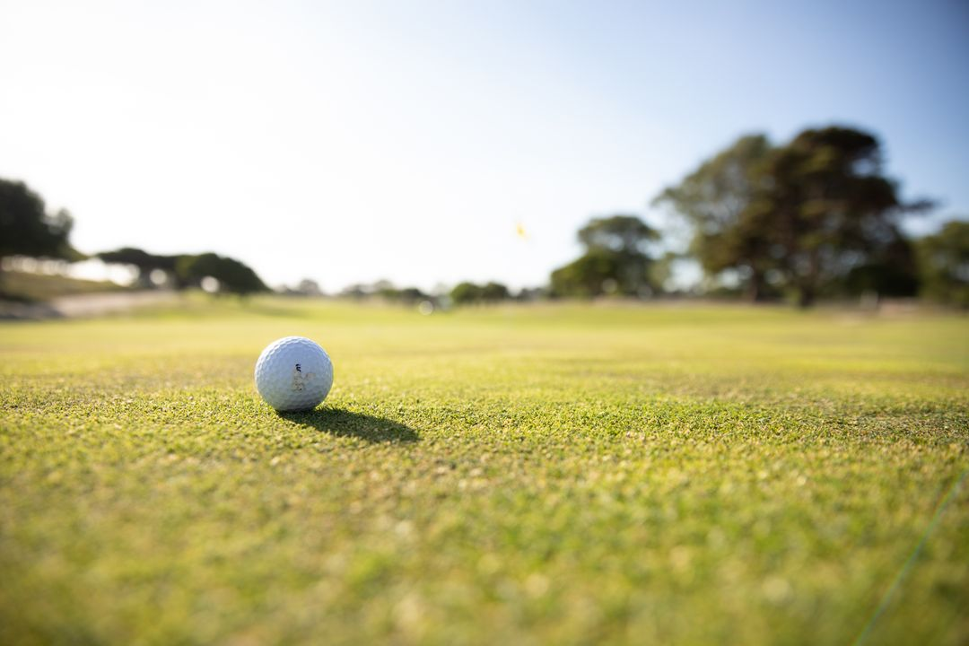 Close up of a golf ball on a golf course on a sunny day. Hobby healthy lifestyle leisure. Free Stock Images from PikWizard