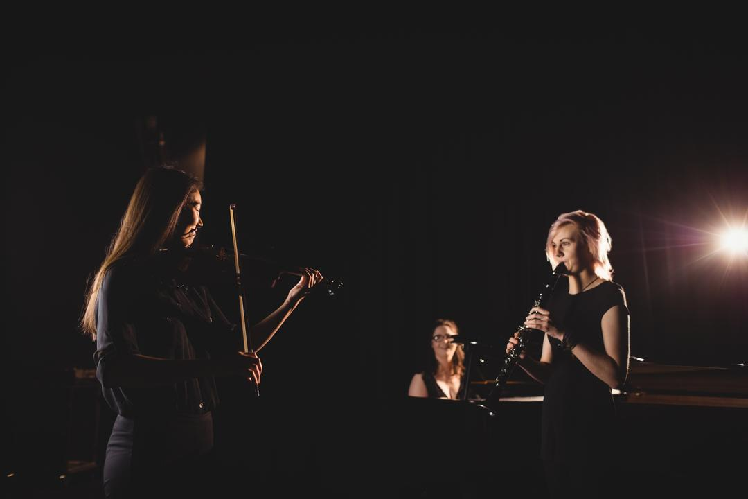 Women playing various instrument in music school