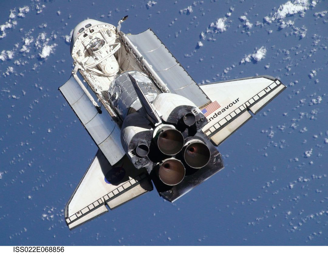 ISS022-E-068856 (9 Feb. 2010) --- This view of the space shuttle Endeavour, taken on Feb. 9 from the International Space Station as the two spacecraft conducted their rendezvous operations, was downlinked by the Expedition 22 crew on Feb. 19. The Tranquility node and the Cupola can be seen in the shuttle's payload bay.
