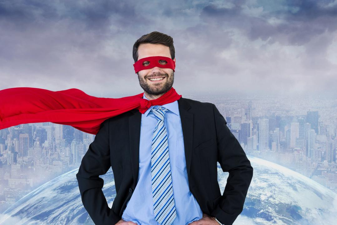 Digital composite of Portrait of happy businessman wearing superhero costume overlooking cityscape