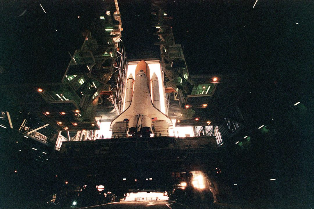 A wide-angle view of the Space Shuttle Atlantis as it stands ready inside the Vehicle Assembly Building for rollout to Launch Pad 39A. It sits on top of a Mobile Launcher Platform (MLP), a two-story steel structure 25 feet high, which supports and restrains the Shuttle during assembly, transit and while at the pad. The MLP weighs 8.23 million pounds. The entire configuration of Shuttle plus MLP is moved to the pad aboard a crawler-transporter. Liftoff of Atlantis on mission STS-101 is scheduled for April 17 at 7:03 p.m. EDT. STS-101 is a logistics and resupply mission for the International Space Station, to restore full redundancy to the International Space Station power system in preparation for the arrival of the next pressurized module, the Russian-built Zvezda