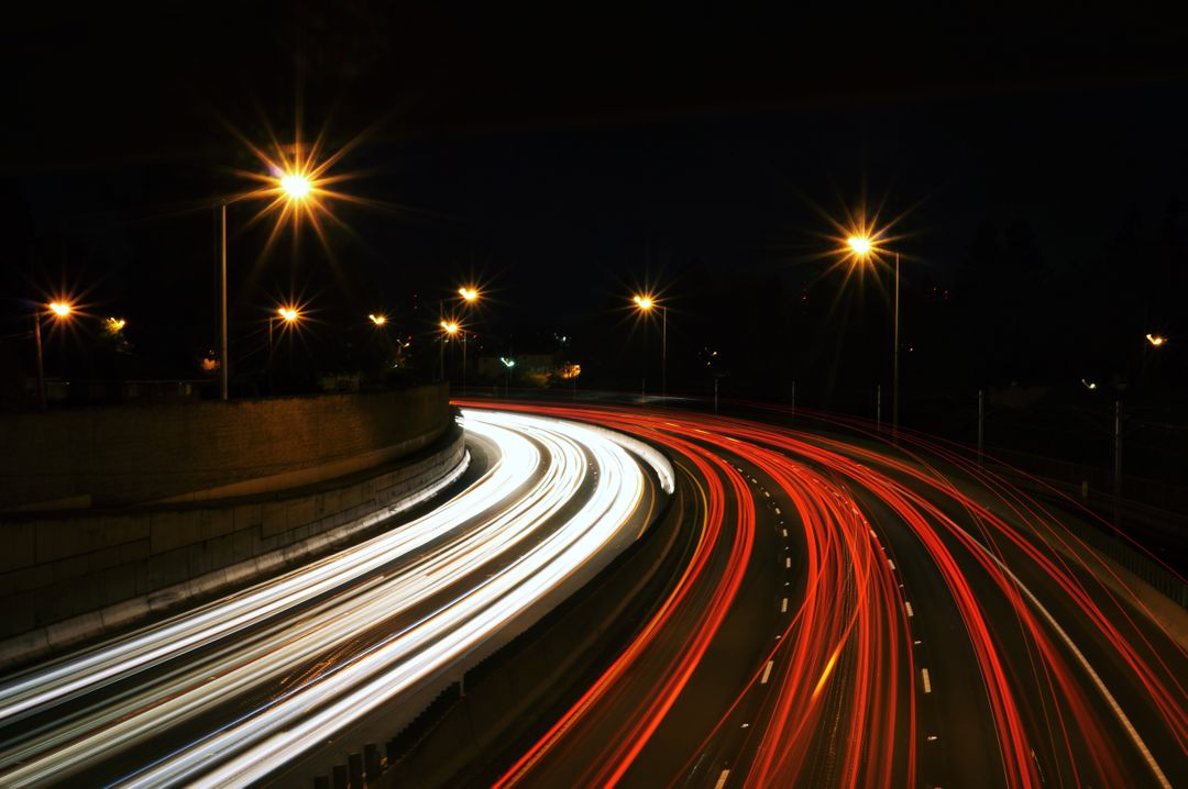long exposure shot on highway