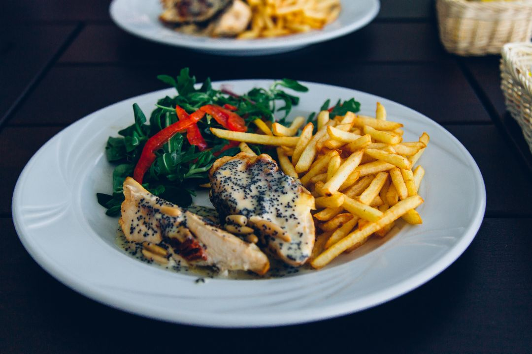 Image of a Plate with Chicken, Salad and Fries
