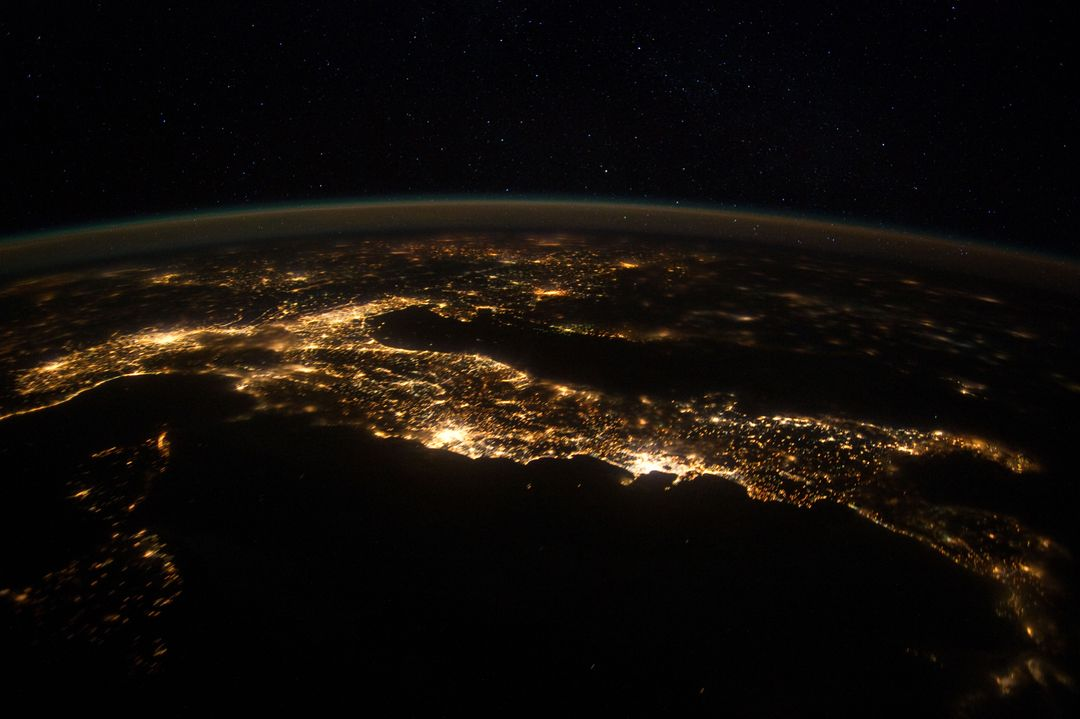 ISS030-E-074777 (25 Jan. 2012 ) --- This nighttime panorama of much of Europe was photographed by one of the Expedition 30 crew members aboard the International Space Station flying approximately 240 miles above the Tyrrhenian Sea on Jan. 25,  2012. Most of the country of Italy is visible running horizontally across the center of the frame, with the night lights of Rome and Naples being visible to the left and right of center, respectively.  Sardinia, and Corsica  are in the lower left quadrant of the photo. The Adriatic Sea is on the other side of Italy, and beyond it to the east and north can be seen parts of several other European nations.