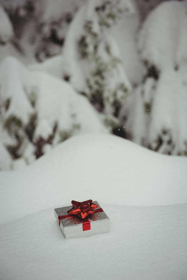 Gift box in a snowy landscape during winter Free Stock Images from PikWizard
