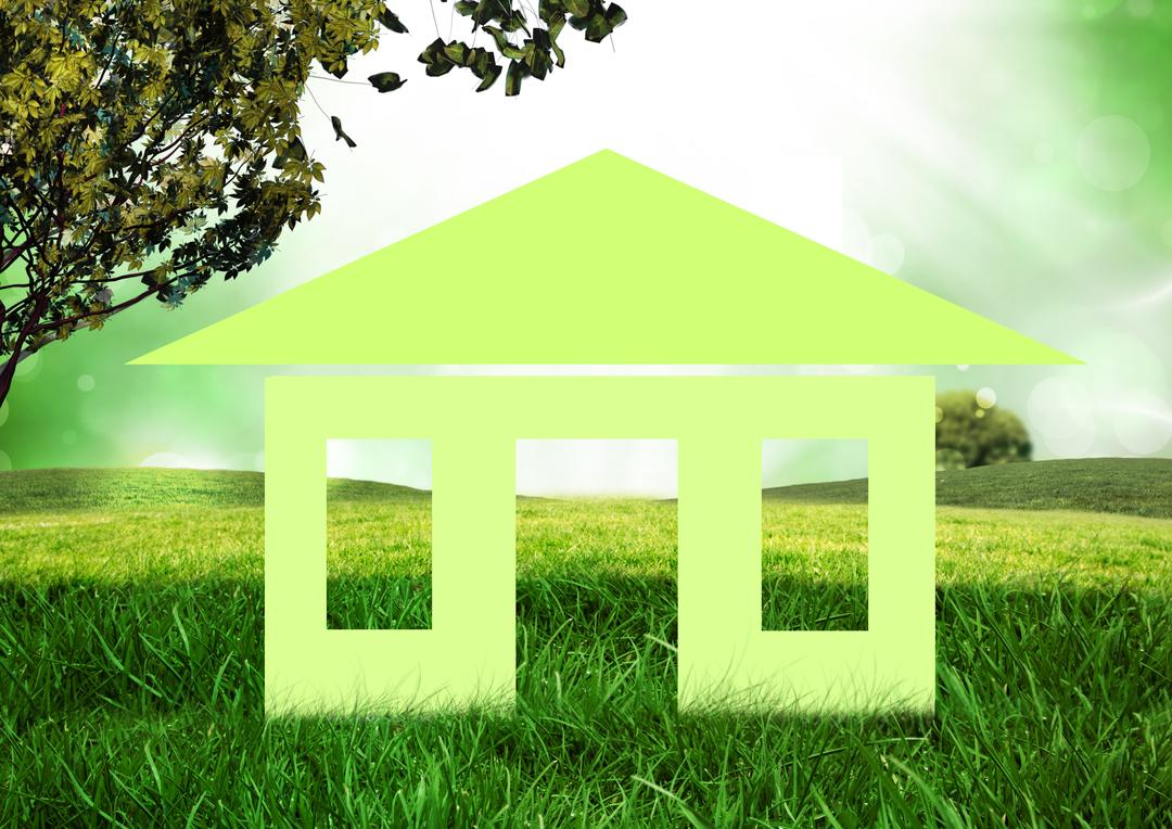 Conceptual image of home cutout in grassland