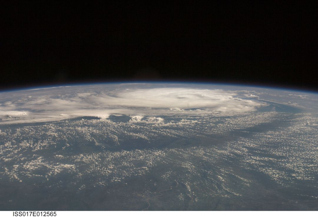 ISS017-E-012465 (4 Aug. 2008) --- Tropical Storm Edouard, as photographed from the International Space Station by one of the Expedition 17 crewmembers onboard, from a vantage point of 220 statute miles above the Earth, stirs in the Gulf of Mexico roughly 24 hours prior to landfall at a point east of Galveston, Texas