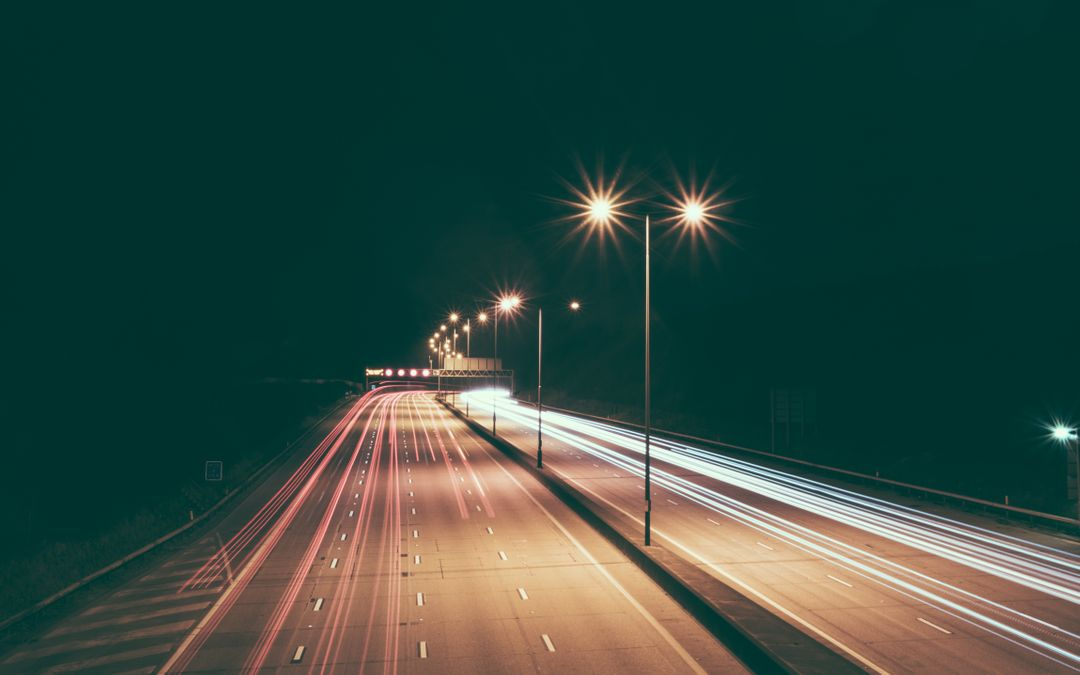 Highway Road Night Lights Free Photo