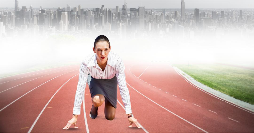Digital composite of Businesswoman on starting line on running tracks