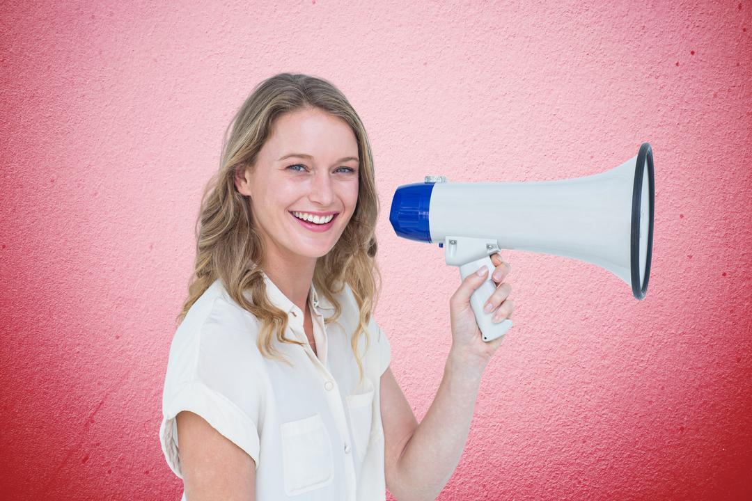 Woman smiling with pink background with megaphone