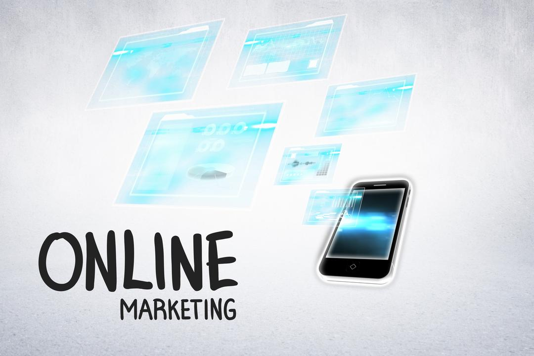 Digital composite of online marketing message with phone Free Stock Images from PikWizard