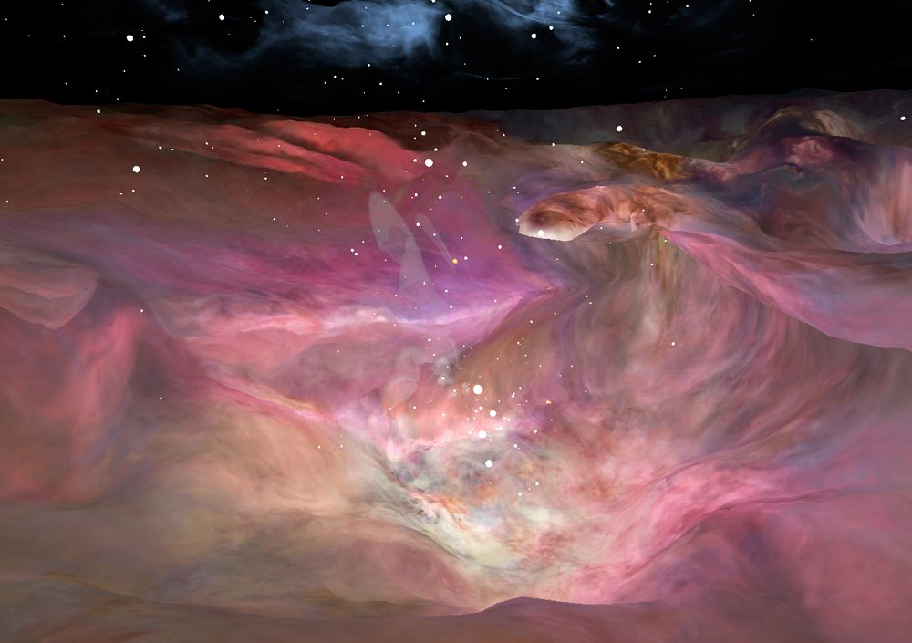 "This image depicts a vast canyon of dust and gas in the Orion Nebula from a 3-D computer model based on observations by NASA's Hubble Space Telescope and created by science visualization specialists at the Space Telescope Science Institute (STScI) in Baltimore, Md. A 3-D visualization of this model takes viewers on an amazing four-minute voyage through the 15-light-year-wide canyon.  Credit: NASA, G. Bacon, L. Frattare, Z. Levay, and F. Summers (STScI/AURA)  Go here to learn more about Hubble 3D:  <a href=""http://www.nasa.gov/topics/universe/features/hubble_imax_premiere.html"" rel=""nofollow"">www.nasa.gov/topics/universe/features/hubble_imax_premier...</a>  or  <a href=""http://www.imax.com/hubble/"" rel=""nofollow"">www.imax.com/hubble/</a>  Take an exhilarating ride through the Orion Nebula, a vast star-making factory 1,500 light-years away. Swoop through Orion's giant canyon of gas and dust. Fly past behemoth stars whose brilliant light illuminates and energizes the entire cloudy region. Zoom by dusty tadpole-shaped objects that are fledgling solar systems.  This virtual space journey isn't the latest video game but one of several groundbreaking astronomy visualizations created by specialists at the Space Telescope Science Institute (STScI) in Baltimore, the science operations center for NASA's Hubble Space Telescope. The cinematic space odysseys are part of the new Imax film &quot;Hubble 3D,&quot; which opens today at select Imax theaters worldwide.  The 43-minute movie chronicles the 20-year life of Hubble and includes highlights from the May 2009 servicing mission to the Earth-orbiting observatory, with footage taken by the astronauts.  The giant-screen film showcases some of Hubble's breathtaking iconic pictures, such as the Eagle Nebula's &quot;Pillars of Creation,&quot; as well as stunning views taken by the newly installed Wide Field Camera 3.  While Hubble pictures of celestial objects are awe-inspiring, they are flat 2-D photographs. For this film, those 2-D images have been converted into 3-D environments, giving the audience the impression they are space travelers taking a tour of Hubble's most popular targets.  &quot;A large-format movie is a truly immersive experience,&quot; says Frank Summers, an STScI astronomer and science visualization specialist who led the team that developed the movie visualizations. The team labored for nine months, working on four visualization sequences that comprise about 12 minutes of the movie.  &quot;Seeing these Hubble images in 3-D, you feel like you are flying through space and not just looking at picture postcards,&quot; Summers continued. &quot;The spacescapes are all based on Hubble images and data, though some artistic license is necessary to produce the full depth of field needed for 3-D.&quot;  The most ambitious sequence is a four-minute voyage through the Orion Nebula's gas-and-dust canyon, about 15 light-years across. During the ride, viewers will see bright and dark, gaseous clouds; thousands of stars, including a grouping of bright, hefty stars called the Trapezium; and embryonic planetary systems. The tour ends with a detailed look at a young circumstellar disk, which is much like the structure from which our solar system formed 4.5 billion years ago.  Based on a Hubble image of Orion released in 2006, the visualization was a collaborative effort between science visualization specialists at STScI, including Greg Bacon, who sculpted the Orion Nebula digital model, with input from STScI astronomer Massimo Roberto; the National Center for Supercomputing Applications at the University of Illinois at Urbana-Champaign; and the Spitzer Science Center at the California Institute of Technology in Pasadena.  For some of the sequences, STScI imaging specialists developed new techniques for transforming the 2-D Hubble images into 3-D. STScI image processing specialists Lisa Frattare and Zolt Levay, for example, created methods of splitting a giant gaseous pillar in the Carina Nebula into multiple layers to produce a 3-D effect, giving the structure depth. The Carina Nebula is a nursery for baby stars.  Frattare painstakingly removed the thousands of stars in the image so that Levay could separate the gaseous layers on the isolated Carina pillar. Frattare then replaced the stars into both foreground and background layers to complete the 3-D model. For added effect, the same separation was done for both visible and infrared Hubble images, allowing the film to cross-fade between wavelength views in 3-D.  In another sequence viewers fly into a field of 170,000 stars in the giant star cluster Omega Centauri. STScI astronomer Jay Anderson used his stellar database to create a synthetic star field in 3-D that matches recent razor-sharp Hubble photos.  The film's final four-minute sequence takes viewers on a voyage from our Milky Way Galaxy past many of Hubble's best galaxy shots and deep into space. Some 15,000 galaxies from Hubble's deepest surveys stretch billions of light-years across the universe in a 3-D sequence created by STScI astronomers and visualizers. The view dissolves into a cobweb that traces the universe's large-scale structure, the backbone from which galaxies were born.  In addition to creating visualizations, STScI's education group also provided guidance on the &quot;Hubble 3D&quot; Educator Guide, which includes standards-based lesson plans and activities about Hubble and its mission. Students will use the guide before or after seeing the movie.  &quot;The guide will enhance the movie experience for students and extend the movie into classrooms,&quot; says Bonnie Eisenhamer, STScI's Hubble Formal Education manager.  The Hubble Space Telescope is a project of international cooperation between NASA and the European Space Agency (ESA) and is managed by NASA's Goddard Space Flight Center (GSFC) in Greenbelt, Md. The Space Telescope Science Institute (STScI) conducts Hubble science operations. The institute is operated for NASA by the Association of Universities for Research in Astronomy, Inc., Washington, D.C."