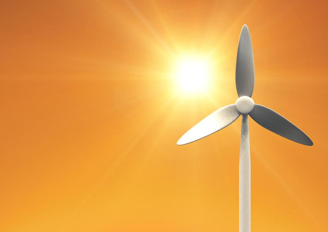 Digital composition of wind turbine against sun