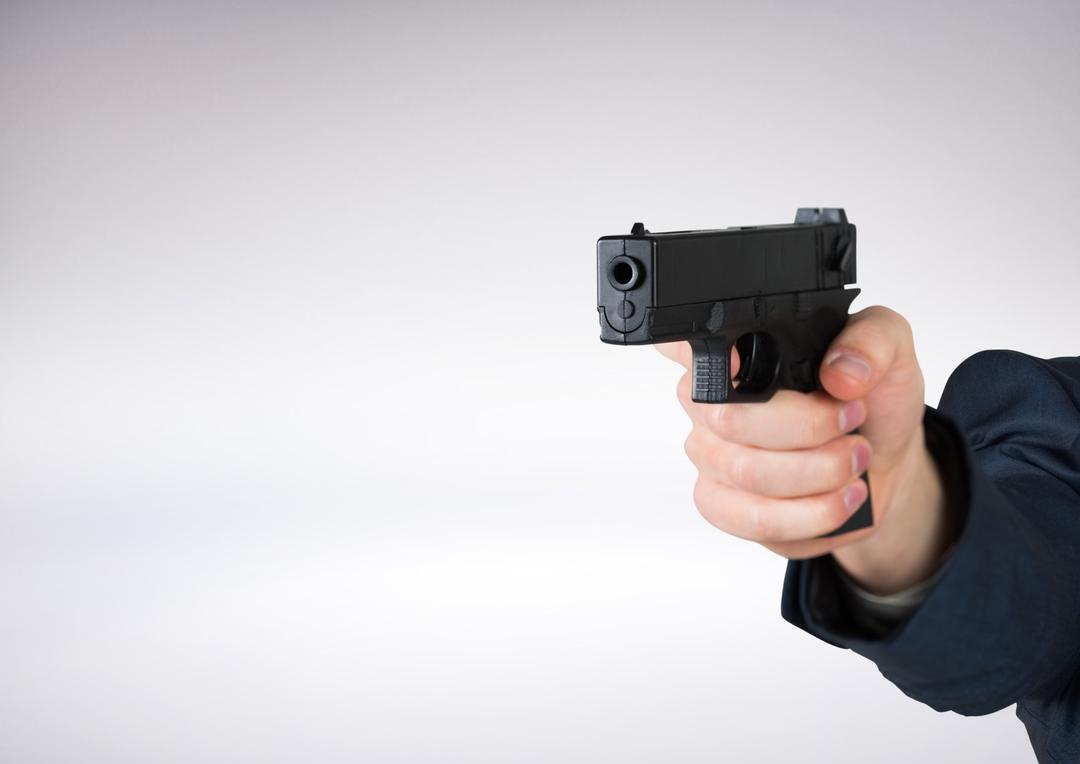 Digital composite of Hand holding gun with white background