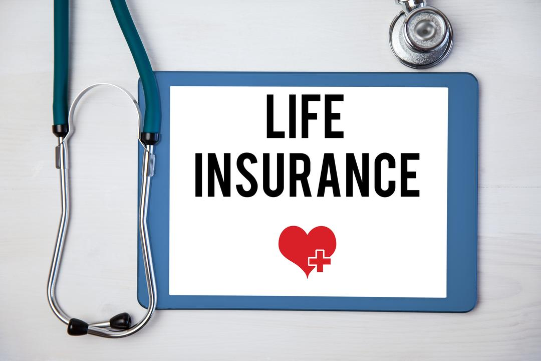Composite of life insurance graphic on tablet computer with medical instrument