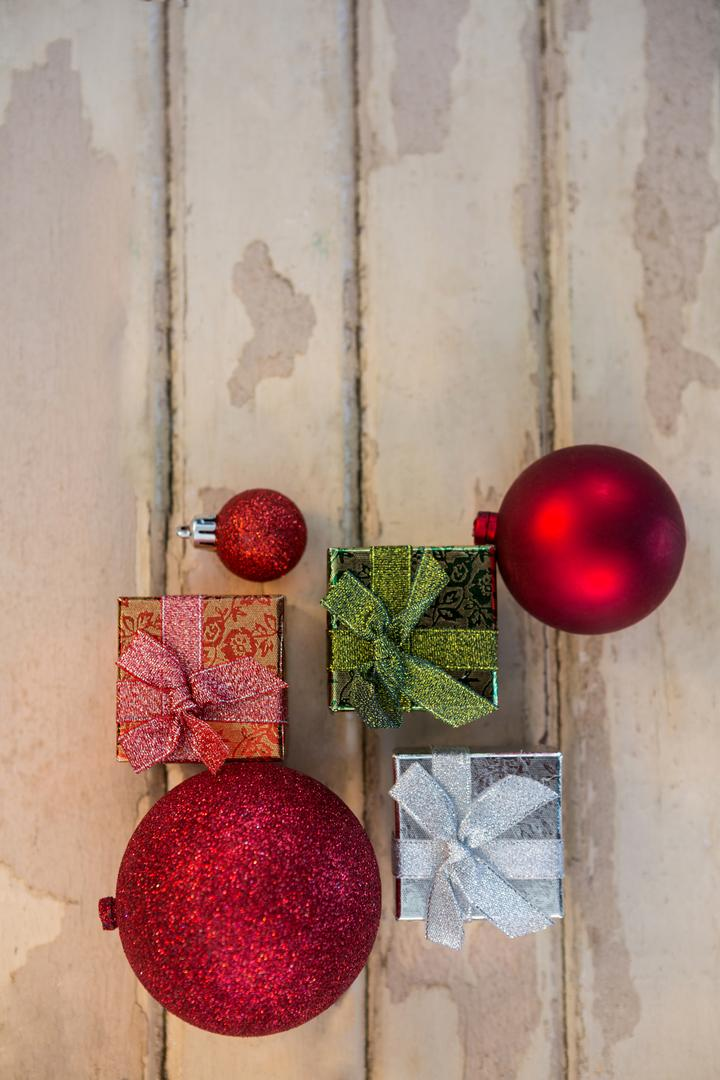 Christmas decoration on wooden plank during christmas time