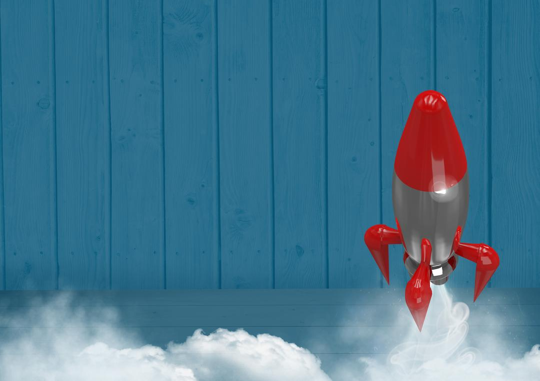 Digital composite of 3D Rocket flying against wood Free Stock Images from PikWizard