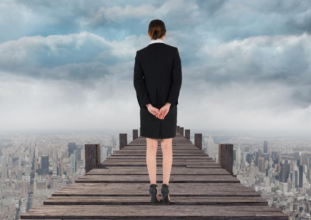 Digital composite image of businesswoman standing on pier with city background Free Stock Images from PikWizard