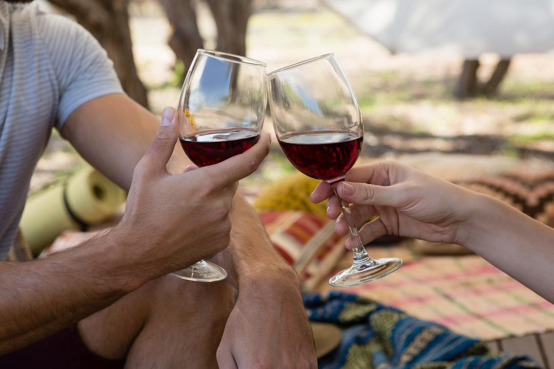 Cropped image of couple toasting wineglasses in tent