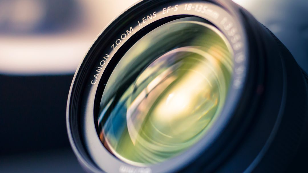 Close up photo of a camera lens.