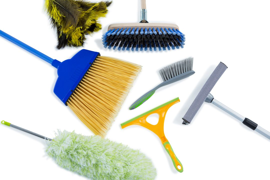 High angle view of cleaning work tools against white background Free Stock Images from PikWizard