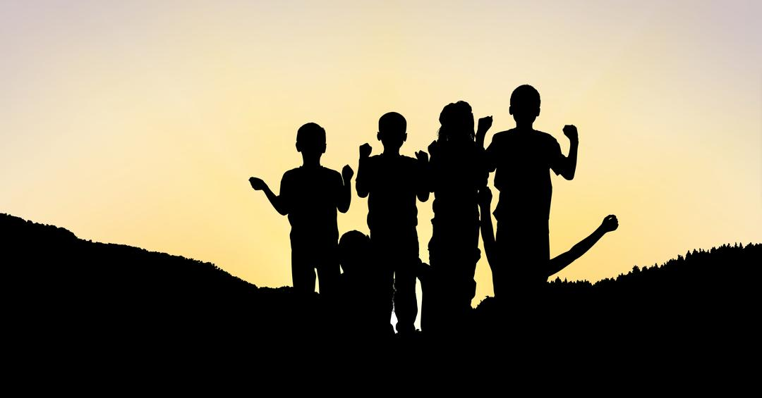 Digital composite of Silhouette children on mountain against sky during sunset