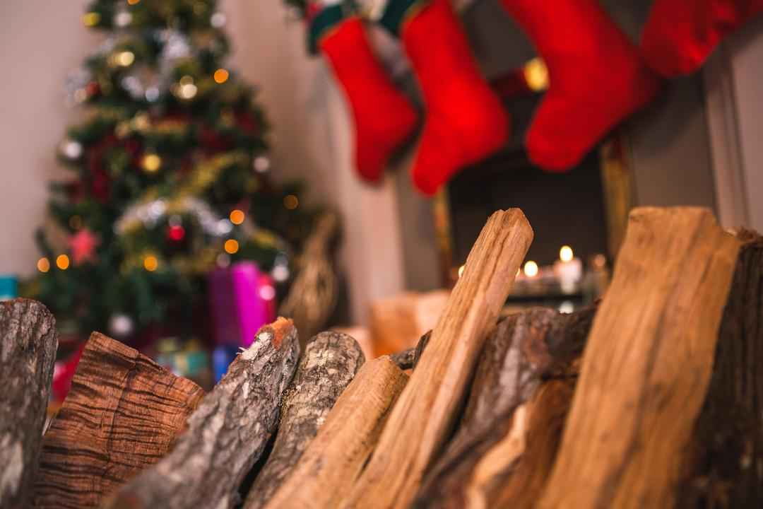 Close-up of wood logs for fire during christmas time