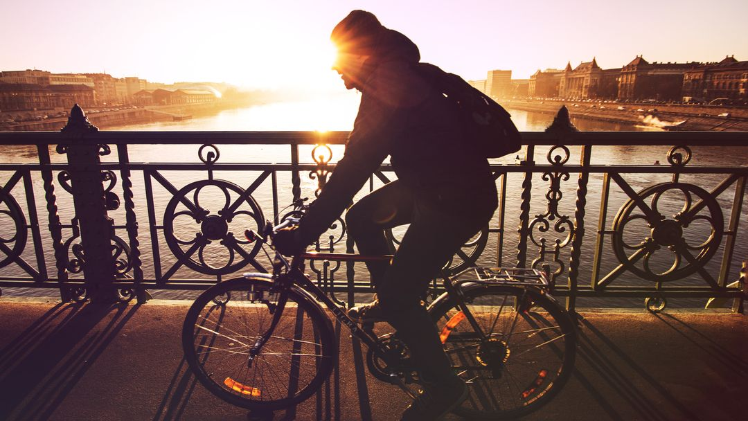 Bicycle bridge cyclist man
