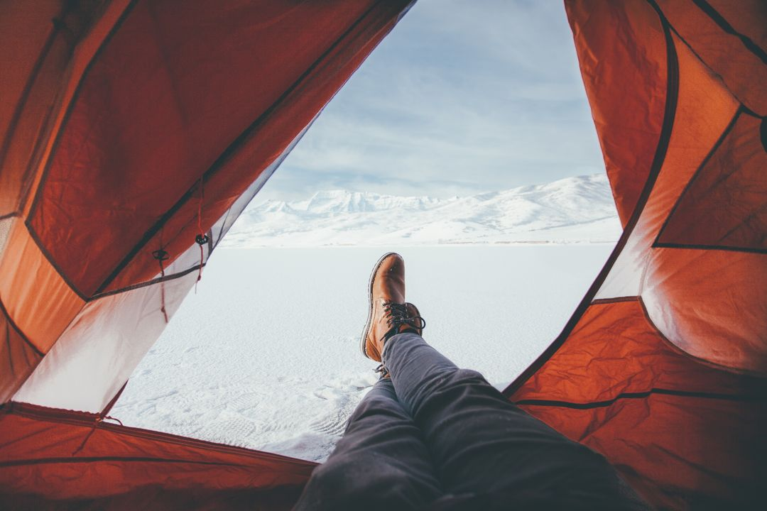 Tent camping snow winter