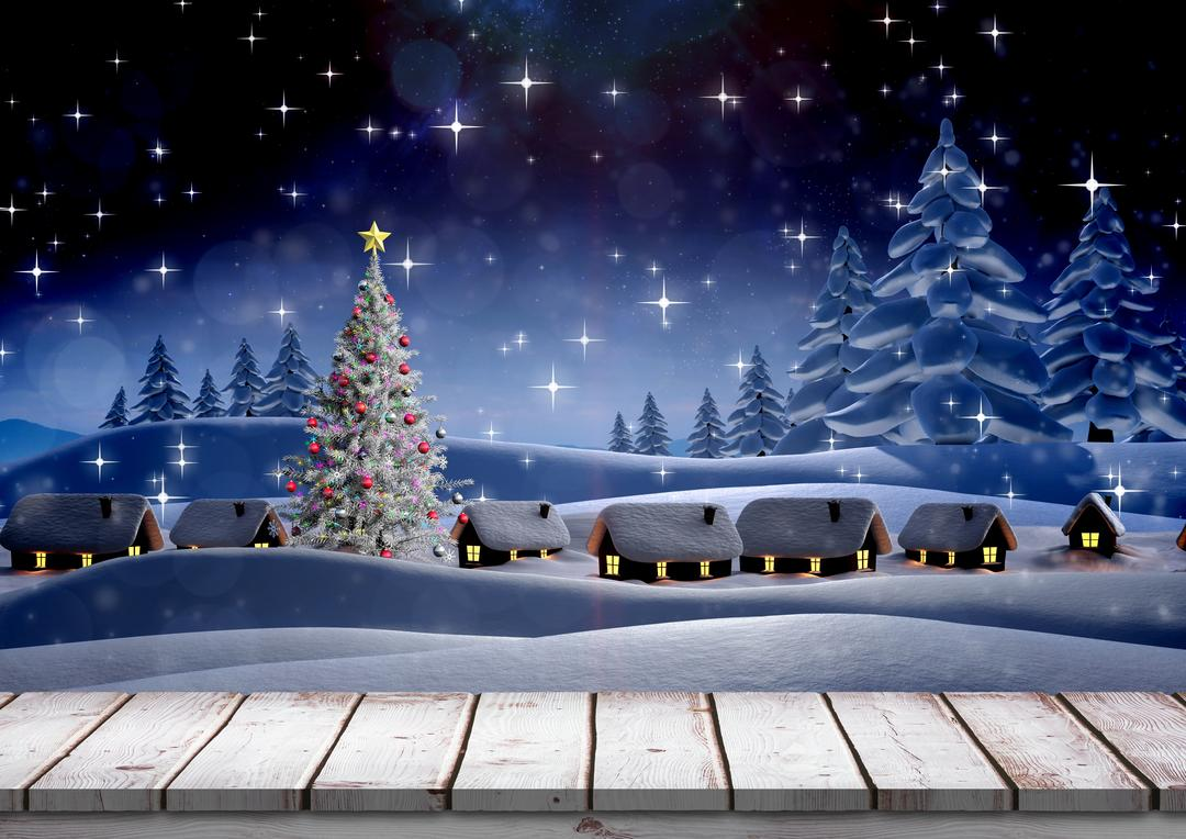 Digital composition of christmas themed snowy background with wooden boardwalk