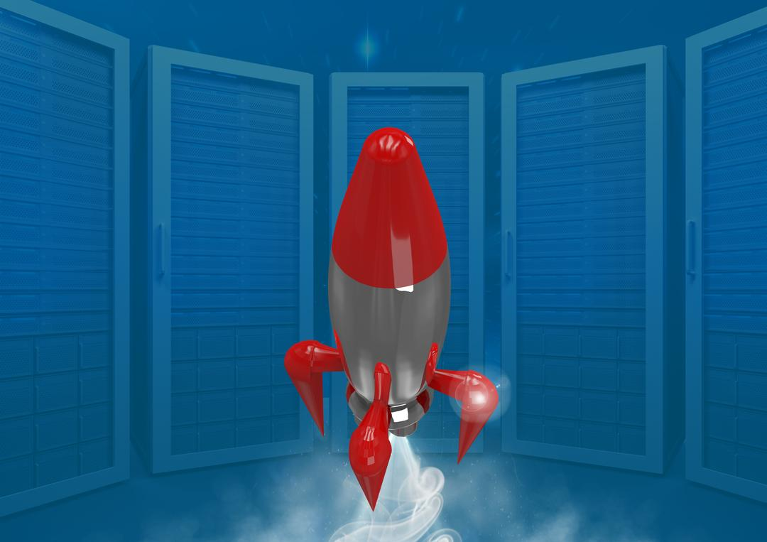 Digital composite of 3D Rocket and servers Free Stock Images from PikWizard