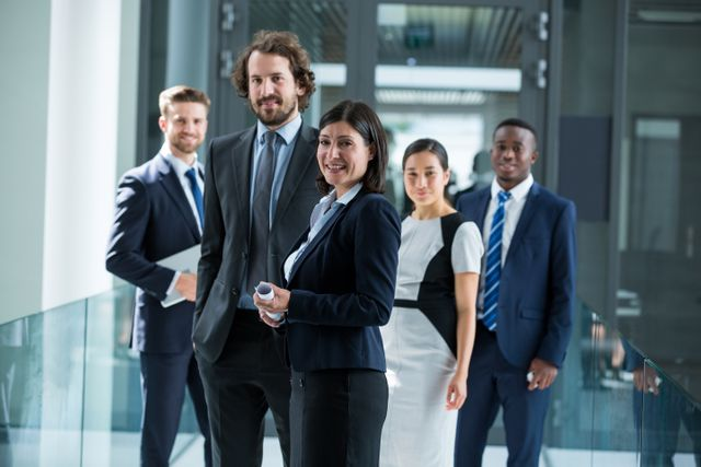 Confident businesspeople standing in office