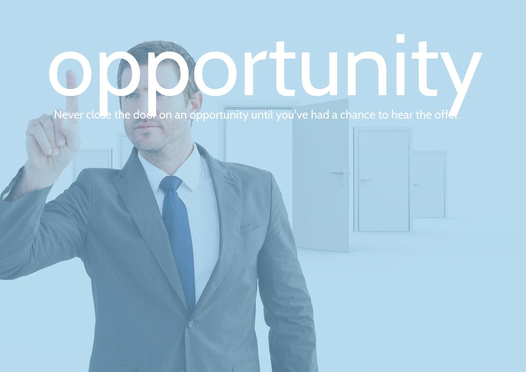 Digital composition of businessman touching text opportunity