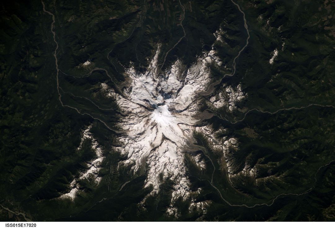 ISS015-E-17020 (7 July 2007) --- Mount Rainier in Washington is featured in this image photographed by an Expedition 15 crewmember on the International Space Station.