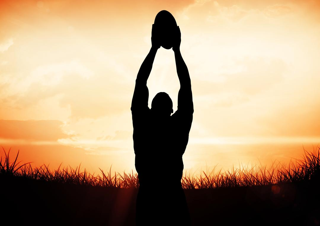 Digital composition of a man catching rugby ball against sky Free Stock Images from PikWizard