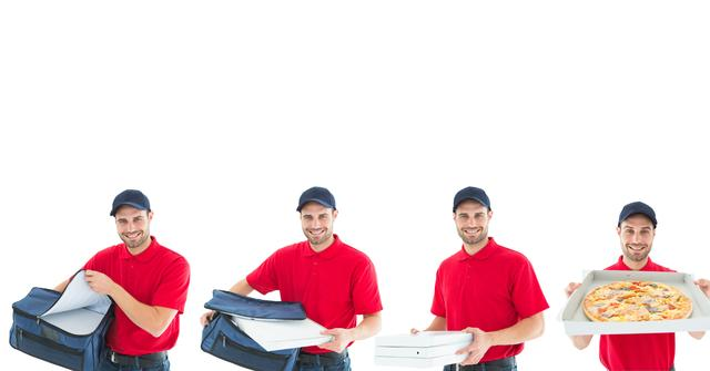 Digital composite of pizza delivery collection