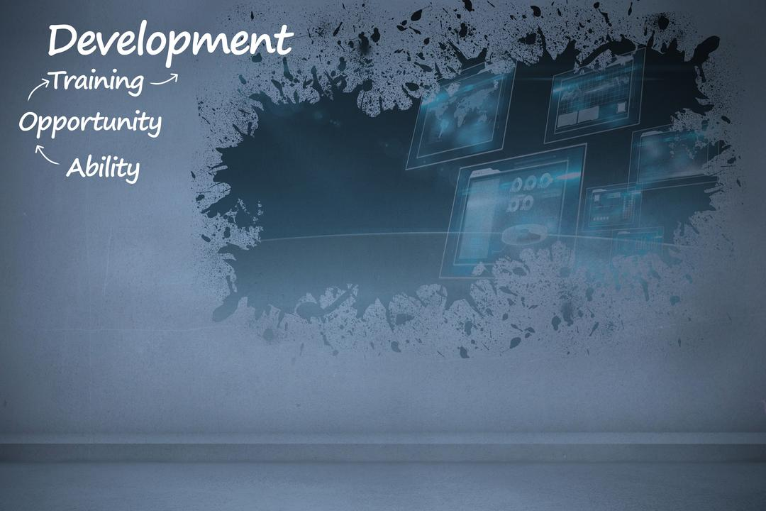 Digital composite of development message on grey background